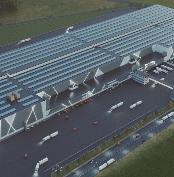 Illustration of a top modern logistics facility
